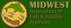 The logo of the Midwest Association of Fish and Wildlife Agencies. In the logo are images of fish, deer hoof-prints, and a turkey feather.